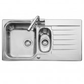 Leisure Seattle 1.5 Bowl Reversible Kitchen Sink with Waste 950mm L x 508mm W Polished Stainless