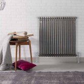 MaxHeat Laser Klassic 2 Column Radiator 600mm High x 650mm Wide 14 Sections - Raw Metal