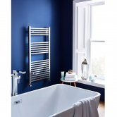 Maxheat MaxRail Squared Designer Towel Rail, 800mm High x 500mm Wide, Chrome