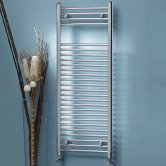 MaxHeat MaxRail Straight Heated Towel Rail 1600mm H x 300mm W Chrome