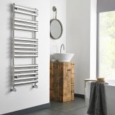 MaxHeat Swindon Heated Towel Rail 800mm H x 500mm W Polished Stainless Steel