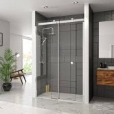 Merlyn 10 Series Sliding Shower Door 1200mm Wide Left Handed - Clear Glass