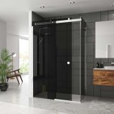 Merlyn 10 Series Sliding Shower Door 1200mm Wide Left Handed - Smoked Black Glass