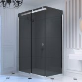 Merlyn 10 Series Sliding Shower Door 1400mm Wide Left Handed - Smoked Black Glass