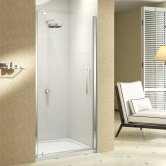 Merlyn 10 Series Pivot Shower Door with Tray 800mm Wide - Clear Glass