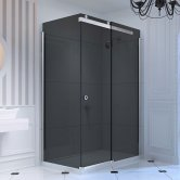 Merlyn 10 Series Sliding Shower Door with Tray 1200mm Wide Right Handed - Smoked Black Glass