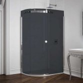 Merlyn 10 Series Single Offset Quadrant Shower Enclosure 1200mm x 900mm LH - Smoked Black Glass