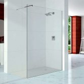 Merlyn 10 Series Wet Room Glass Panel with Wall Profile and Stabilising Bar 600mm Wide - 10mm Glass
