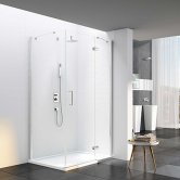Merlyn 6 Series Frameless Inline Hinged Shower Door 1000mm with 1000mm x 800mm Mstone Tray 6mm
