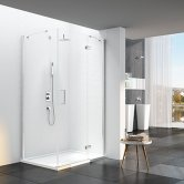Merlyn 6 Series Frameless Inline Hinged Shower Door with Mstone Tray 1200mm Plus Wide - 6mm Glass
