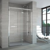 Merlyn 8 Series Frameless Inline Recess Hinged Shower Door 900mm Wide with Tray - 8mm Glass