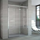 Merlyn 8 Series Frameless Inline Hinged Shower Door 1100+ Wide - 8mm Glass