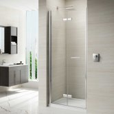 Merlyn 8 Series Frameless Hinged Bi-fold Shower Door 1000mm with 1000mm x 800mm Tray - 8mm Glass