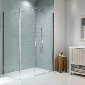 Merlyn 8 Series Frameless Pivot Shower Door and Inline Panel with Tray 1100mm Wide - 8mm Glass