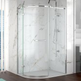 Merlyn 8 Series Frameless Offset Quadrant Shower Enclosure with LH Tray 1200mm x 900mm - 8mm Glass