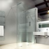 Merlyn 8 Series Wet Room Glass Panel, 700mm Wide, Clear Glass