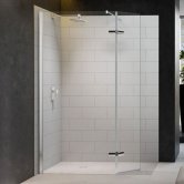 Merlyn 8 Series Hinged Wet Room Glass Panel with 1600mm x 900mm Tray - 1350mm Wide
