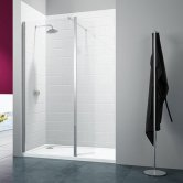 Merlyn 8 Series Wet Room Panel with Swivel Return, 700mm Wide, Clear Glass