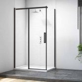 Merlyn Black Sliding Shower Door with MStone Tray 1500mm Wide - Clear Glass