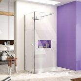 Merlyn Ionic Corner Profile Walk-In Shower Enclosure 1600mm x 700mm (1100mm+700mm Glass) with Tray