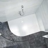 Merlyn Level25 Offset Quadrant Shower Tray with Waste 1200mm x 900mm - Left Handed