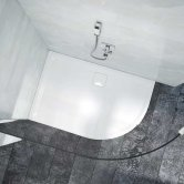Merlyn Level25 Offset Quadrant Shower Tray with Waste 1200mm x 900mm - Right Handed