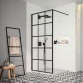 Merlyn Black Squared Showerwall 1000mm Wide 8mm Glass - Including Tray