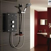 Mira Galena Thermostatic Electric Shower with Kit and Showerhead, 9.8kW, Black Flock