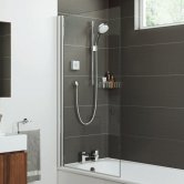 Mira Leap Square Edge Shower Bath Screen 1450mm H x 800mm W - 5mm Glass