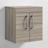 Nuie Athena Wall Hung 2-Door Vanity Unit and Worktop 500mm Wide - Driftwood