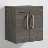 Nuie Athena Wall Hung 2-Door Vanity Unit and Worktop 500mm Wide - Brown Grey Avola
