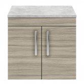 Nuie Athena Wall Hung 2-Door Vanity Unit with Grey Worktop 600mm Wide - Driftwood
