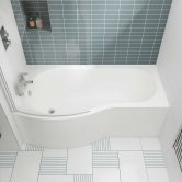 Nuie B-Shaped Shower Bath 1500mm x 735mm/900mm - Left Handed