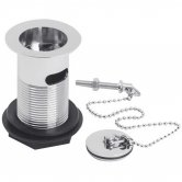 Nuie Basin Waste with Brass Plug and Ball Chain Chrome - Slotted