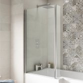 Nuie Quattro L-Shaped Bath Screen with Fixed End Panel 1400mm High