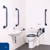 Nymas Nyma PRO Back to Wall Doc M Pack Exposed Fixings White - 5 x Dark Blue Grab Rails