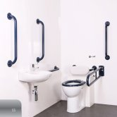 Nymas Nyma PRO Back to Wall Doc M Pack Concealed Fixings White - 5 x Satin Grab Rails