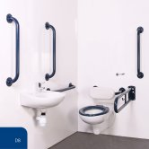 Nymas Nyma PRO Wall Hung Doc M Pack Exposed Fixings White - 5 x Dark Blue Grab Rails