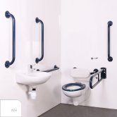 Nymas Nyma PRO Wall Hung Doc M Pack Exposed Fixings White - 5 x White Grab Rails
