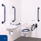 Nymas Nyma PRO Wall Hung Doc M Pack Concealed Fixings White - 5 x Dark Blue Grab Rails