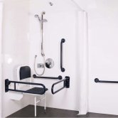 Nymas NymaPRO Doc M Shower Pack White with Concealed Valves and Dark Blue Rails
