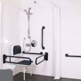 Nymas NymaPRO Doc M Shower Pack White with Concealed Valves and Dark Grey Rails