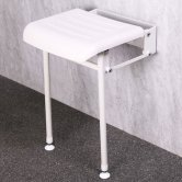 Nymas NymaPRO Compact Padded Hinged Shower Seat with Legs - White