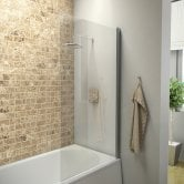 Orbit A6 Square Edge Bath Screen 1400mm High x 800mm Wide - 6mm Glass