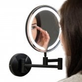 Orbit Round Wall Hung LED Makeup Bathroom Mirror 200mm Diameter - Black
