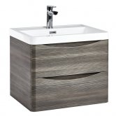 Orbit Contour Wall Hung 2-Drawer Vanity Unit with Basin 600mm Wide - Avola Grey
