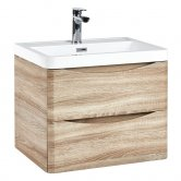 Orbit Contour Wall Hung 2-Drawer Vanity Unit with Basin 600mm Wide - Driftwood Oak