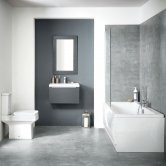 Orbit Muro Complete Bathroom Furniture Suite with Double Ended 1700mm x 700mm Bath