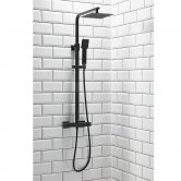 Orbit Noire Lunar Thermostatic Bar Shower Mixer with Shower Kit and Fixed Head - Matt Black