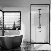 Orbit Noire Black Frame Wet Room Glass Panel 1200mm Wide - 8mm Glass
